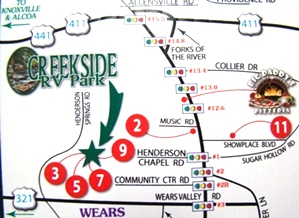 Campground Pigeon Forge TN - Creekside RV Park - Directions
